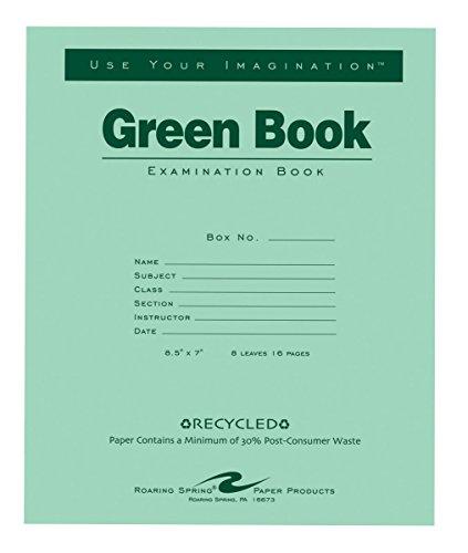 Roaring Spring Recycled Examination Green Book, 8 Sheets, Set of -