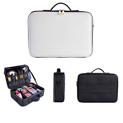 AckfulMakeup with Adjustable Dividers Portable Travel Cosmetic Bag Organize Case (M) -