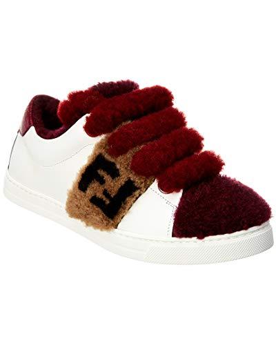 (Fendi Ff Shearling & Leather Sneaker, 40, White)