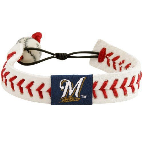 (MLB Milwaukee Brewers White Leather Baseball Seam Bracelet)