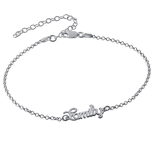 MyNameNecklace Name Ankle Bracelet Custome Made in Sterling Silver or 18k Gold Plating ()