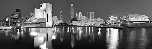 Cleveland Skyline PHOTO PRINT UNFRAMED NIGHT Black & White BW City Downtown 11.75 inches x 36 inches Rock Roll Hall of Fame Photographic Panorama Poster Picture Standard Size