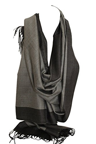 bd8172074f1 Two Sided Reversible Plain Pashmina Feel Wrap Scarf Shawl Stole Head  Scarves (Grey   Black