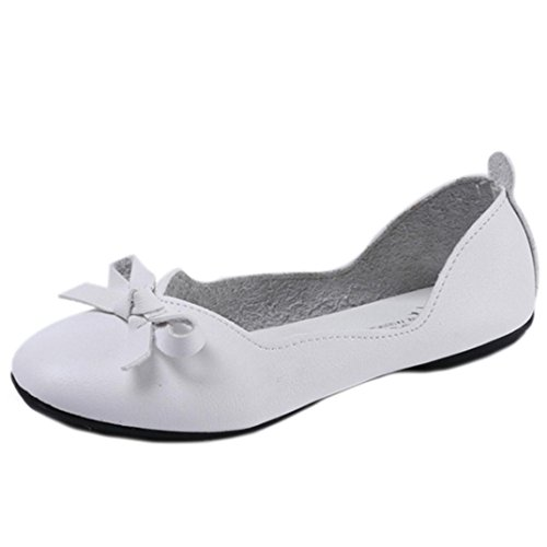 Jamicy Women Sweet Bowknot Design Fish Mouth Shallow Low Heel Office Casual Shoes White