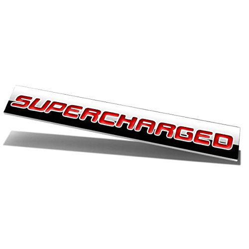 (Chrome Finish Metal Emblem Supercharged Badge (Red Letter))