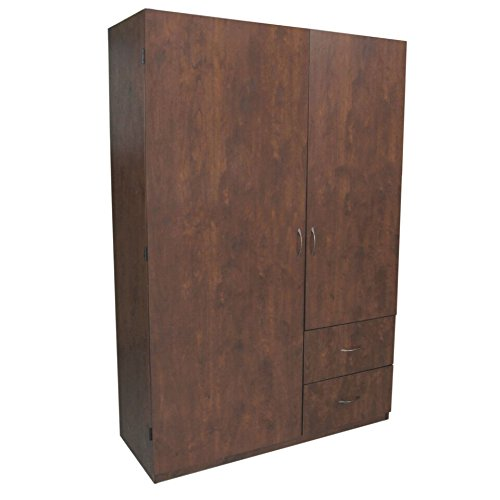 Home Source Industries 11310 Walnut 2-Door Wardrobe with hanging Area Shelving and 2-Drawer, Walnut from Home Source Industries