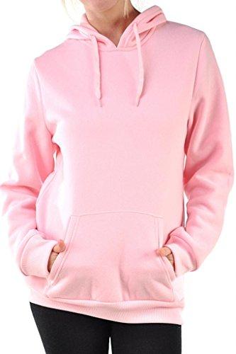 Sofra Women's Pullover Fleece Lined Hoodie Sweater, Medium, Pink (Hoodie Pink Women)