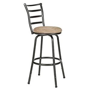 Roundhill Furniture Adjustable Metal Bar Stool