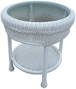 Oakland Living Resin Wicker End Table, 21-Inches, White