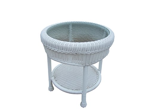Oakland Living Resin Wicker End Table, 21-Feet, White (White Resin Table compare prices)