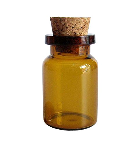 12 PCS 5ml Small Mini Glass Wide Mouth Bottle Jars with Cork ()