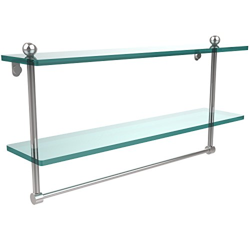 "Allied Brass (PR-2/22TB-PC)  22"" Double Shelf w/Towel Bar Polished Chrome"