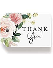 Bliss Collections Boho Floral Favor Thank You Tags — Greenery, Pink Blush Flower Design, Perfect for: Wedding Favors, Baby Shower, Bridal Shower, Birthday or Special Event — 50 Pack