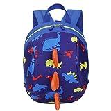 KONFA Baby Boys Girls Kids Dinosaur Pattern Animals Backpack Toddler School Bag (Dark Blue)