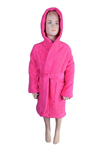 Girls Terry Cloth Robes - Turquoise Textile Kids Terry Hooded Robe for Boys and Girls (Small/Medium, Hot Pink)