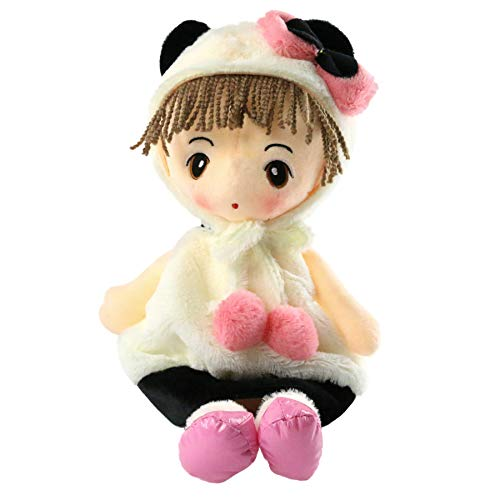 Houwsbaby Stuffed Rag Doll Soft Plush Toy Gift Girl's Favourite Panda Suit Dress Kids Bedtime Companion, 18 inches -