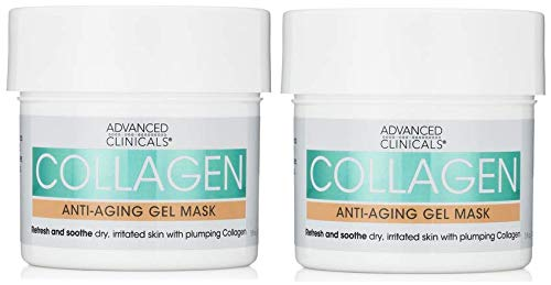 Advanced Clinicals Collagen Anti-Aging Gel Mask with Coconut Oil and Rosewater. Plumping mask for wrinkles, fine lines. Supersize 5oz (Two - 5oz)
