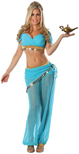 [Delicious Arabian Nights Sexy Costume, Blue, X-Small, X-Small] (Halloween Jasmine Costume)