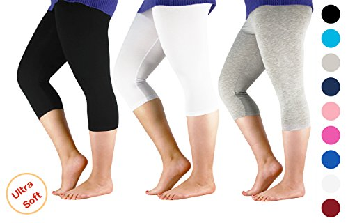 Century Star Women's 3/4 Length Smooth Stretchy Short Pants Plus Size Elastic Waist Sport Capri Leggings 3 Pairs Black w White w Light Grey US 2X Plus-US 4X - Clothing Styles List Different
