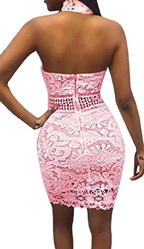 Jaycargogo Dos Nu Dos Nu Mode Femme Moulante En Dentelle Robes Clubwear Rose