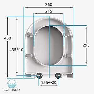 Häufig Cosondo WC Sitz D Form Duroplast weiß mit Absenkautomatik ZA71