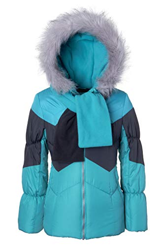 Sportoli Girls' Winter Colorblock Hooded Puffer Bubble Jacket Coat Hat & Scarf - Aqua Brilliance (Size ()