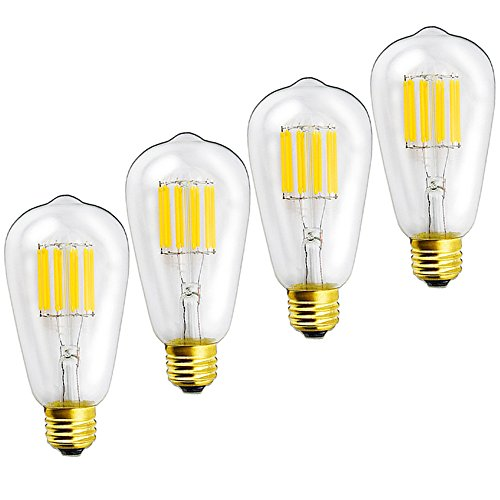 (Lustaled 10W Dimmable ST64 Vintage LED Filament Bulb 120V ST21(ST64) Antique Shape Edison Style E26 Medium Base 100W Equivalent Lamps (Warm White 2700K, 4-Pack))