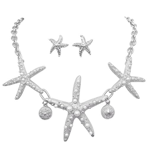 Gypsy Jewels 3 Starfish Simulated Pearl Textured Sealife Nautical Boutique Statement Necklace & Stud Earrings Set (Silver Tone)