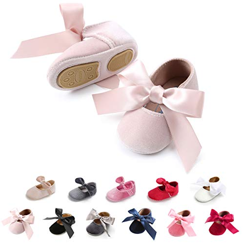 Tutoo Baby Girls' Party Shoes Newborn Soft Sole Walkers Shoes Infant Crib Shoes (4.7 (6-12 Months), A-Beige) ()