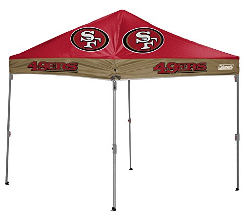 NFL Instant Pop-Up Canopy Tent with Carrying Case, 10x10, San Francisco 49ers