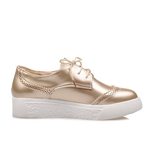 VogueZone009 Women's Pointed Closed Toe Low-Heels Soft Material Solid Lace-up Pumps-Shoes Gold 2V6feEQW4C