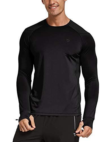 BALEAF Men's Athletic Long Sleeve Running Shirts Thumbholes Cool Workout Performance T-Shirt Quick Dry Tops Black L