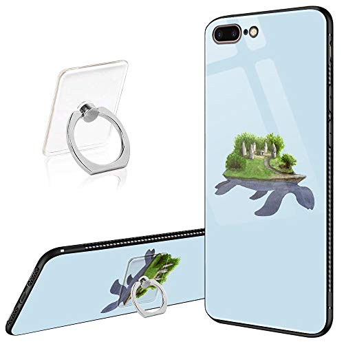 iPhone 8 Plus Case,iPhone 7 Plus Cases Tempered Glass Pattern Painted Turtle Island Cover for iPhone 7/8 Plus