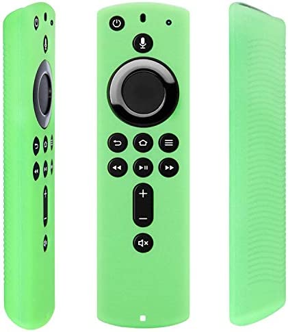 [2 Pack] Firestick Remote Cover Case (Glow within the Dark) Compatible with Fire TV Stick 4K Alexa Voice Remote Control (Green & Sky Blue)