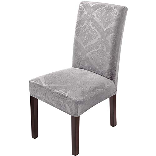 Delight Dining Chair - Delight Dining Room Chair Covers,Velvet Stretch Chair Covers for Dining Room,Removable Washable Dining Chair Covers(6 PCS-Light Grey)