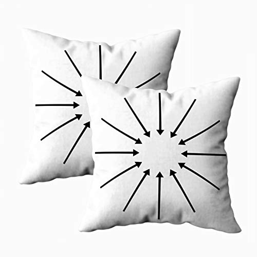 Asdecmoly Sofa Pillow Cases, Decorative Pillowcase Pack of 2 Concentric Radial Arrows Circular Arrow Element Cover for Kids Throw Cushion Square 18X18 Inchs Home Sofa Bed Travel Gift