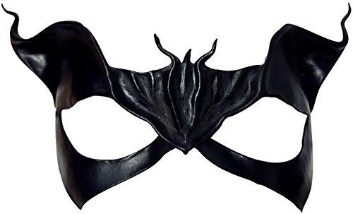 - Meow Handmade Leather Masquerade Art Mask (Black)