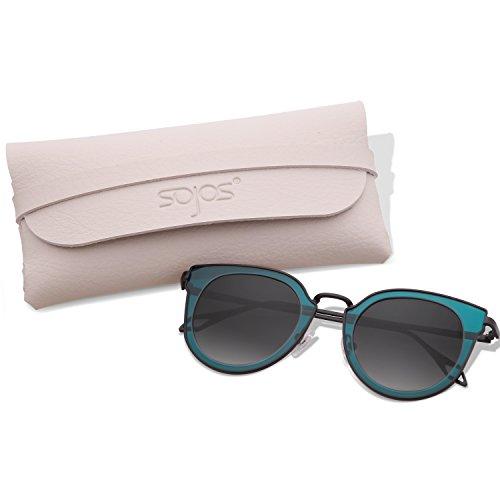 SojoS Fashion Polarized Sunglasses UV Mirrored Lens Oversize Metal Frame SJ1057 (C13 Black Frame/Grey Polarized Lens, - Without Bridge Sunglasses