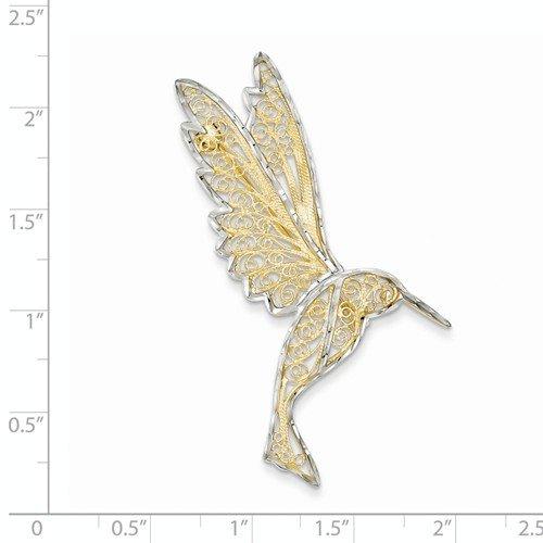 14k Yellow Gold & Rhodium Diamond Cut Filigree Hummingbird Pin by Nina's Jewelry Box (Image #1)