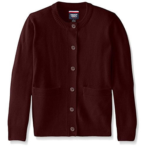 French Toast School Uniform Girls Anti-Pill Crew Neck Cardigan Sweater, Burgundy, Medium (7/8) - Burgundy Cardigan Sweater