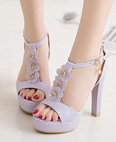 Easemax Womens Floral Fashion Open Toe Buckled Dressy Chunky High Heels Ankle Wrap T Strap Platform Sandals Purple kvf9WINT