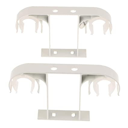 Street27 2 Piece Hard Metal Double Drape Curtain Rod Support Bracket Holder Ceiling Mounted