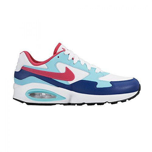 Nike air max 1 ST (GS) Trainers 653819 Sneakers Shoes (US 4.5 Big Kid, White Vivid Pink Black Blue 105)