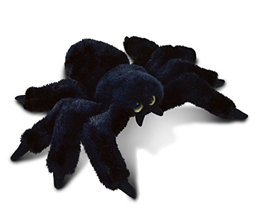 Puzzled Black Spider Plush, 7 Inch Collectible Decorative Big Eyes Tarantula Stuffed Toy Soft Take A Long Plushie Pillow Squishes Washable Cushy Mini Doll Creepy Crawlies Themed Kids Toys & Games