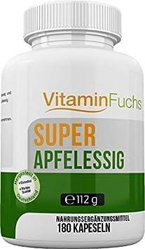 Apfelessig Kapseln natürlich und hochdosiert. Ideal bei der Stoffwechsel Kur. Apfelessig Deluxe - 180 Kapseln von VitaminFuch