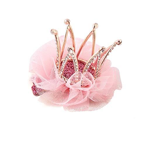 Girl's Diamond Crown Hair Pin Princess Flower Hair Clips Rhinestone Crystal Tiara Kids Party Hair Accessory (1)