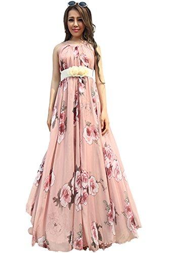 Medeshe - Vestido - cuello hálter - Sin mangas - para mujer Rosa Rosa