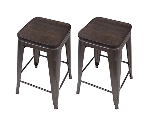 GIA Gunmetal Metal Stool With Wooden Seat, Counter Height Square Backless, Tolix Style, Weight Capacity of 300+ lbs., Set of 2