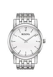 Bulova 96A115 Mens White Silver Dress Watch