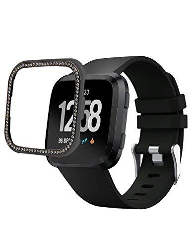 Callancity 18K Black Platinum Handwork Inlaid Bling Rhinestone Diamond Bezel Case Compatible with Fitbit Versa (Black Platinum)